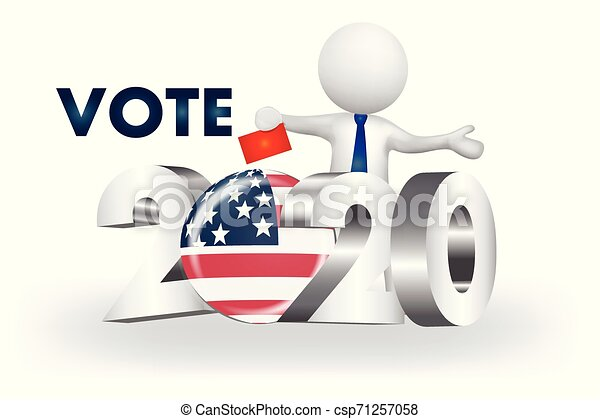 美國, 人們, -2020, 小, 矢量, 投票, 標識語, 3d - csp71257058