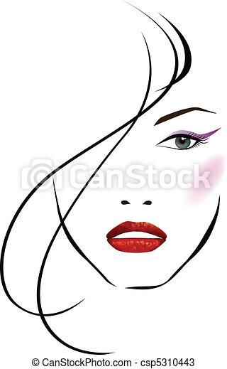 美麗, 女孩, 臉 - csp5310443