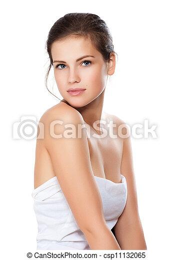 美麗, 特寫鏡頭, 婦女, 健康, 年輕, 臉, 打掃, 皮膚, 肖像 - csp11132065