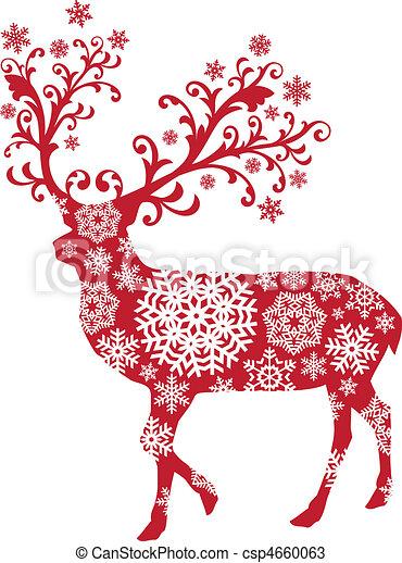 聖誕節, 矢量, 鹿 - csp4660063