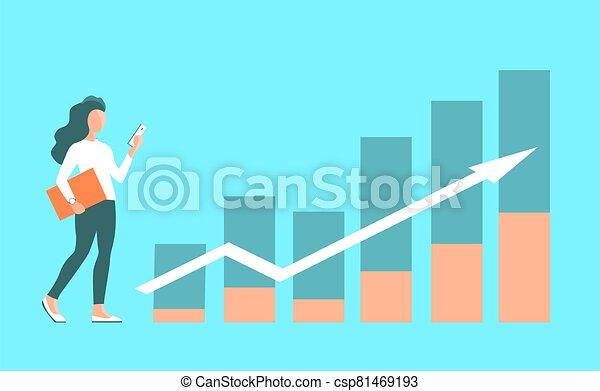 背景, 成長, 辦公室, 女孩, charts., 金融, 工作 - csp81469193
