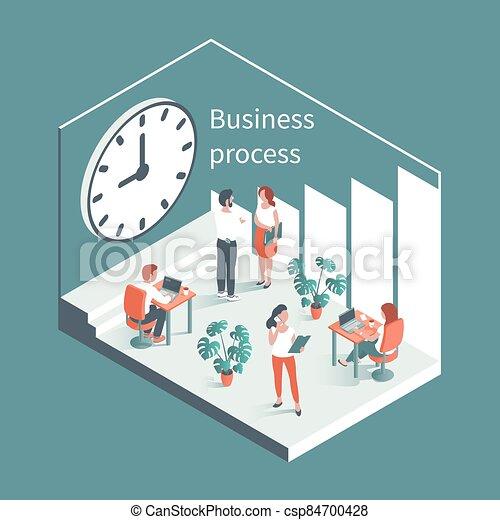 背景, clock., 工作, 大, 人們, 針對, 辦公室 - csp84700428