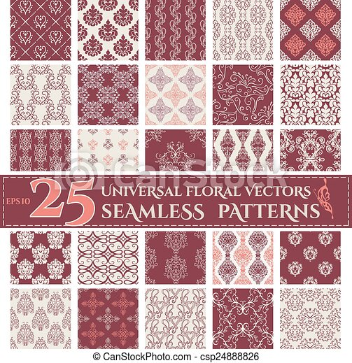 背景, patterns., seamless, 植物, 集合, 葡萄酒 - csp24888826