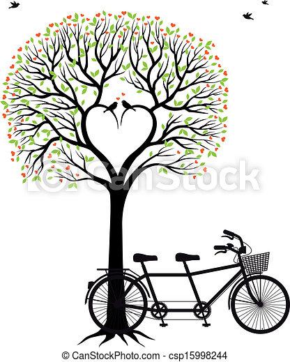 自行車, 心, 樹, 鳥 - csp15998244
