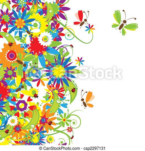花卉 花束, 插圖, 夏天 - csp2297131