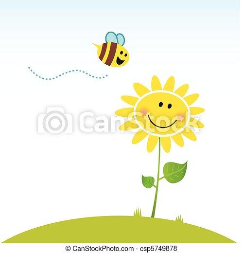花, 愉快, 春天, 蜜蜂 - csp5749878