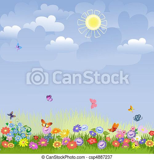 草坪, 陽光充足的日 - csp4887237