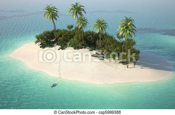 荒島, 看法, 空中, caribbeanl - csp5999388