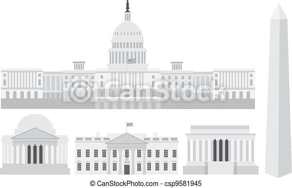 華盛頓, 建筑物, 紀念館, 州議會大廈, dc - csp9581945