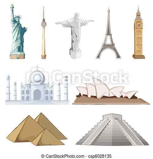 著名, 集合, 大約, 世界, 紀念碑 - csp6028135