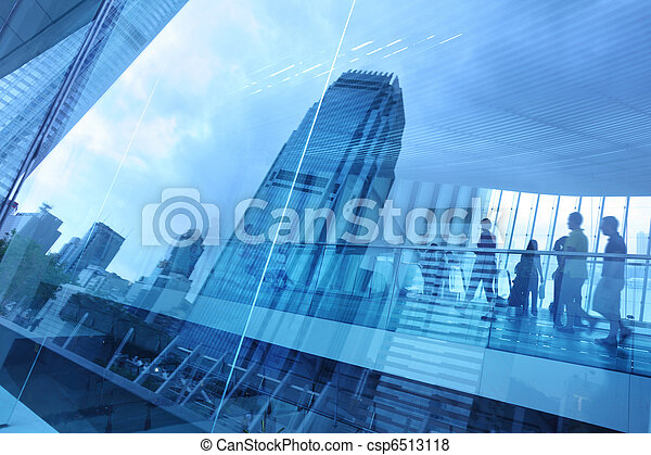藍色, 城市, 背景, 玻璃 - csp6513118