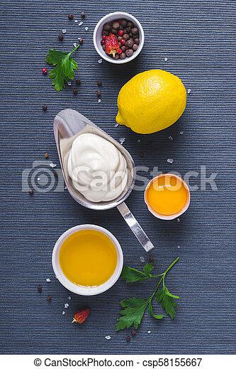 藍色, 成分, 布, 背景, 蛋黃醬, 調味汁 - csp58155667