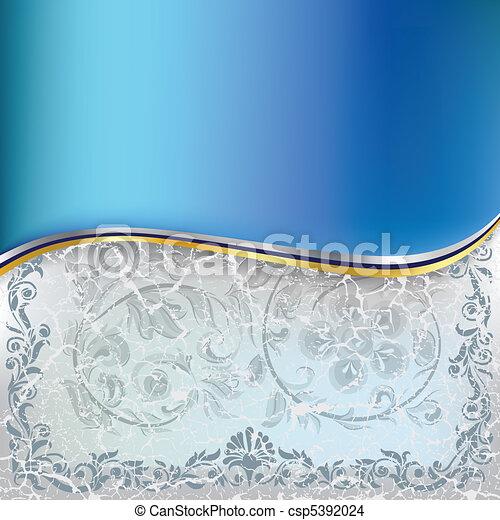 藍色, 摘要, 裝飾品, 背景, 植物, 被爆裂, 白色 - csp5392024