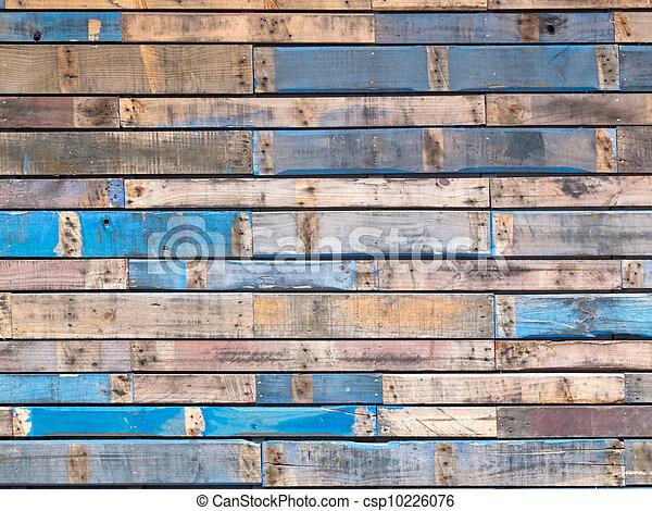藍色, 繪, 支持, 木頭, 外部, grungy, 板條 - csp10226076