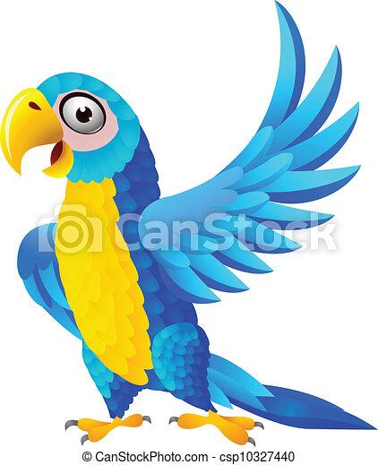 藍色, 金剛鸚鵡, 卡通 - csp10327440