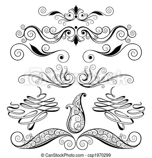 裝飾, 花的要素, 設計 - csp1970299