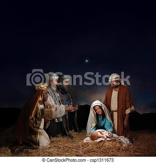 誕生, 人, 明智, 聖誕節 - csp1311673
