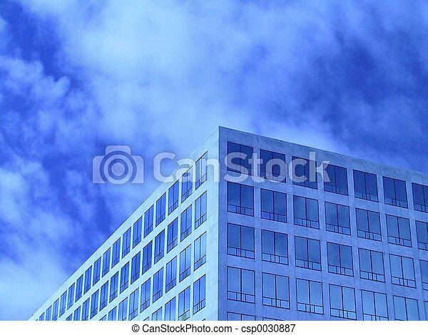 辦公室, 藍色, windows - csp0030887
