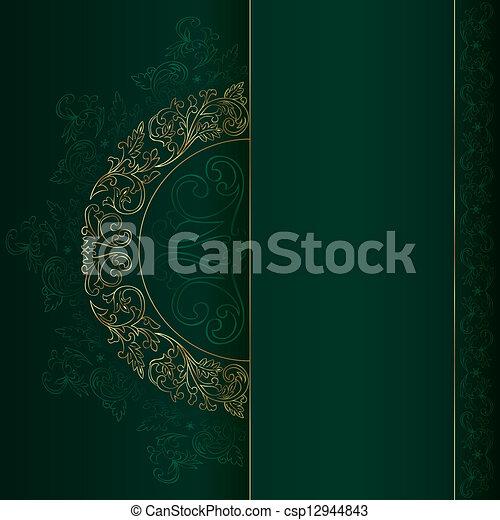 金, 葡萄酒, 圖樣, 綠色的背景, 植物 - csp12944843