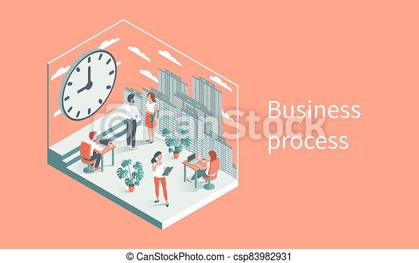 針對, 工作, 背景, 大, 辦公室, clock., 人們 - csp83982931