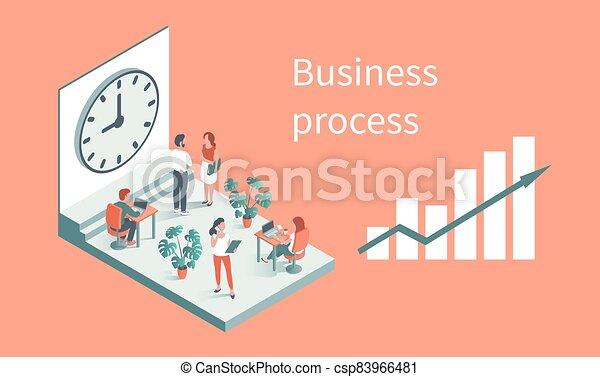 針對, 工作, 背景, 辦公室, clock., 人們 - csp83966481