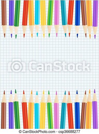 鉛筆, 表, 顏色紙, borders., 矢量, 行 - csp36688277