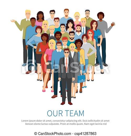 隊, 人們, 專業人員, 套間, 海報, 人群 - csp41287863