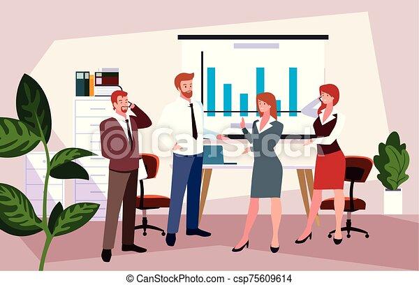 隊, 人們, 工作, 協調, 辦公室, 辦公室, 友好, 事務, 組 - csp75609614