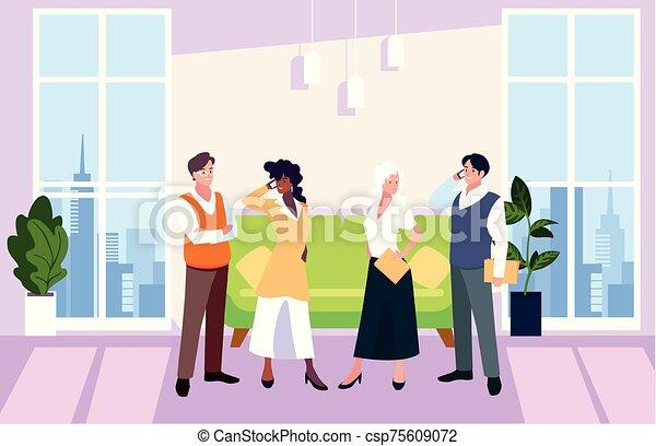 隊, 人們, 工作, 協調, 辦公室, 辦公室, 友好, 事務, 組 - csp75609072