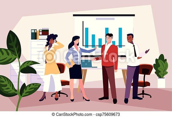 隊, 人們, 工作, 協調, 辦公室, 辦公室, 友好, 事務, 組 - csp75609673