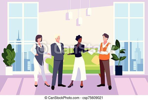 隊, 人們, 工作, 協調, 辦公室, 辦公室, 友好, 事務, 組 - csp75609021