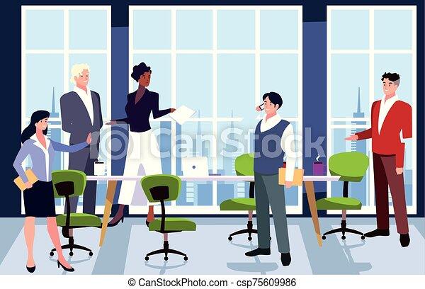 隊, 人們, 工作, 協調, 辦公室, 辦公室, 友好, 事務, 組 - csp75609986