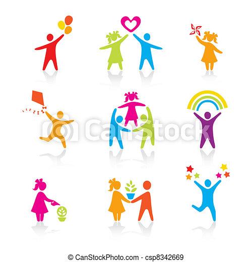 集合, 黑色半面畫像, 人們, 孩子, 人, 圖象, -, 符號。, 男孩, 婦女, 女孩, 父母, 父親, vector., family., 母親, 孩子 - csp8342669