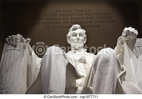 雕像, 紀念館, dc, 向上, 林肯, 關閉, 華盛頓, 白色 - csp1877711