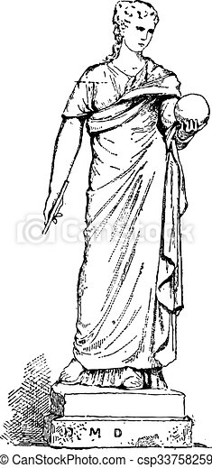 雕刻, urania, 沉思, 天文學, 雕像, 葡萄酒 - csp33758259