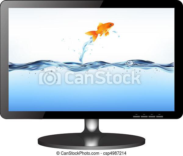 電視, lsd, 跳躍, 監控, fish - csp4987214