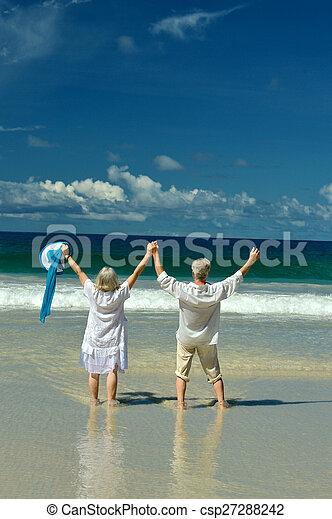 面對, 夫婦, 海灘, 海, 年長 - csp27288242
