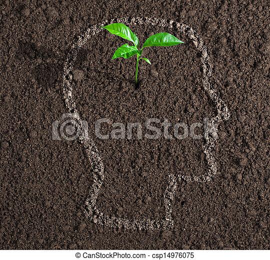 頭, 概念, 土壤, 裡面, 想法, 年輕, 成長, 人類, 外形 - csp14976075