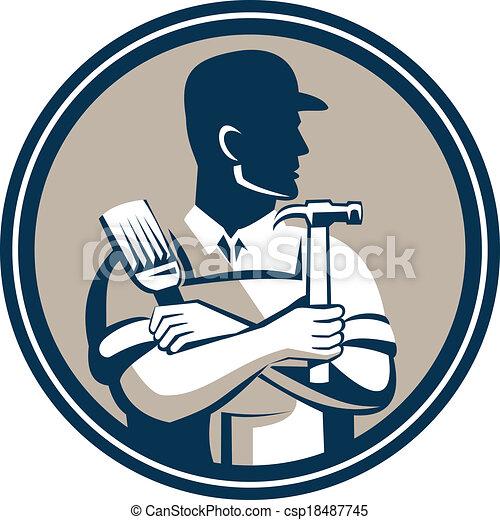 風格, 木匠, 刷子, 藏品, 錘子, 畫家, retro - csp18487745