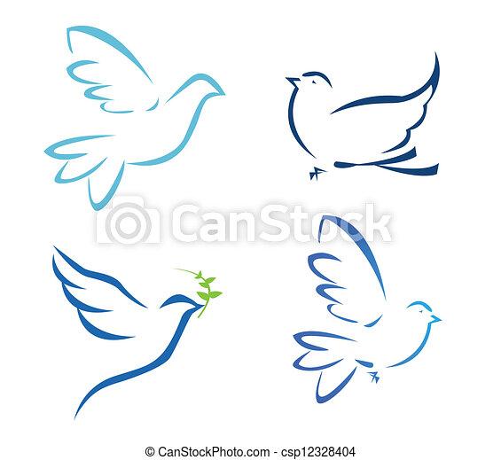 飛行, 矢量, 鴿, 插圖 - csp12328404