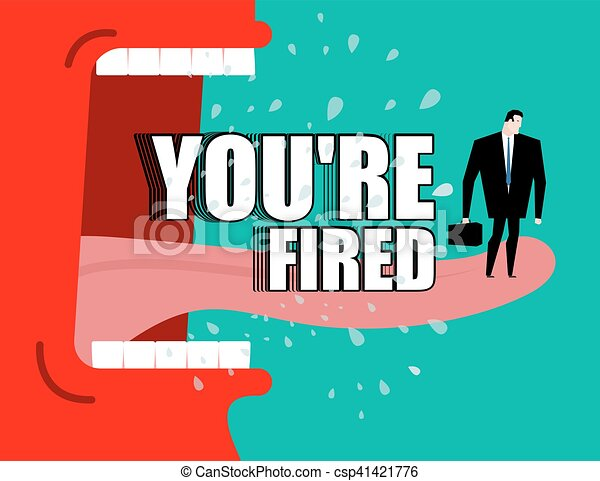 飛, 你是, poster., fired., yells, 解雇, shouts., 唾液, 老板, 主任, 憤怒, 紅色 - csp41421776