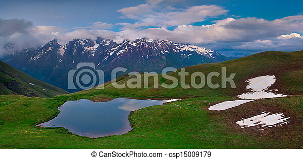 高加索, 山, 湖, 阿爾卑斯山 - csp15009179