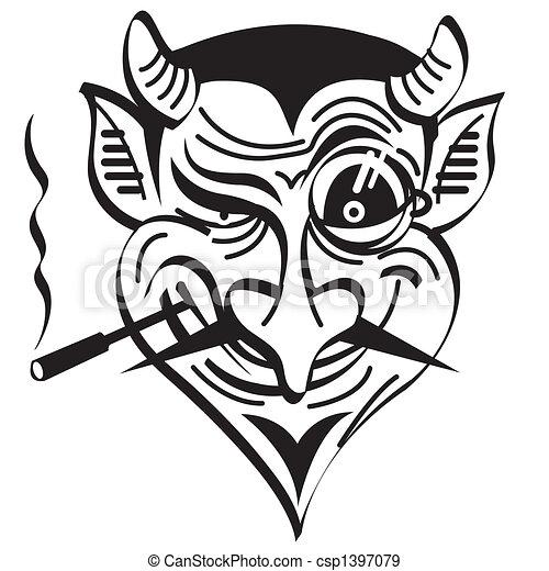 魔鬼, 藝術, 夾子, 邪惡, 圖表, 撒旦 - csp1397079