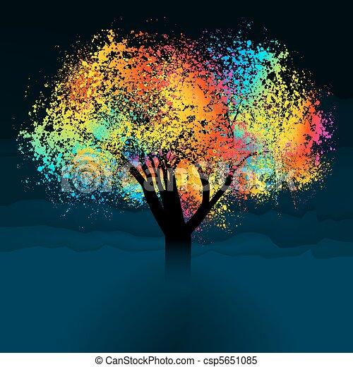 鮮艷, 摘要, eps, space., 樹。, 8, 模仿 - csp5651085