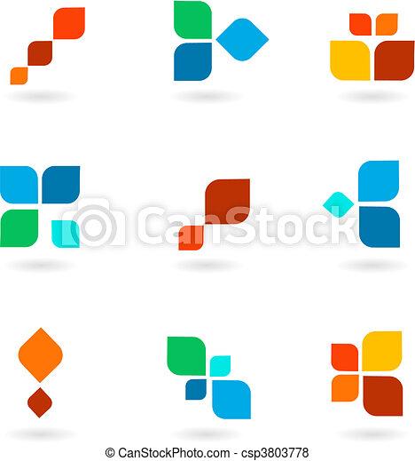 鮮艷, 符號, 插圖, 集合, 矢量, 六 - csp3803778