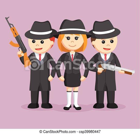 黑手黨, 機組, 婦女, 她, 老板 - csp39980447