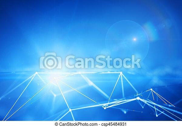 點, 連線, 藍色 - csp45484931