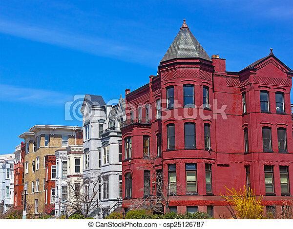 capitol., spring., 華盛頓特區, 我們, 後面, 具有歷史意義, rowhouses - csp25126787
