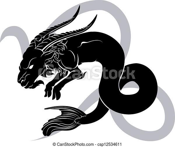 capricorn, 黃道帶, 簽署, 星象, 占星術 - csp12534611