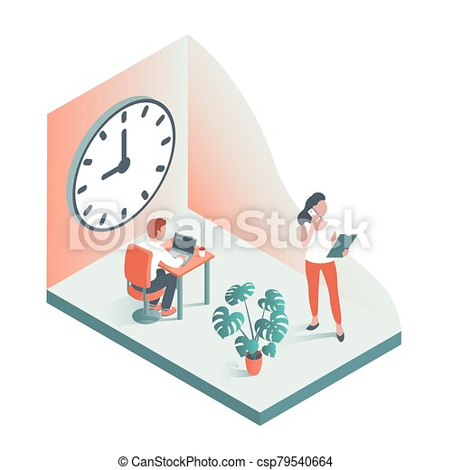 clock., 針對, 人們, 大, 辦公室, 背景, 工作 - csp79540664